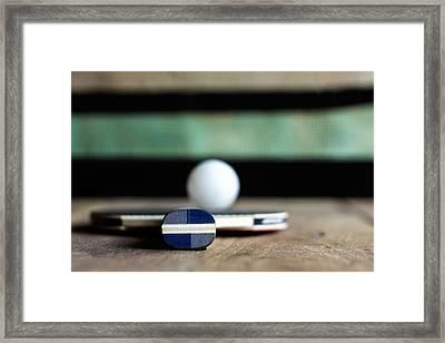 Table Tennis Racket With Ball Framed Print by Miroslav Marinkovic