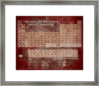 Tableau Periodiques Periodic Table Of The Elements Vintage Chart Sepia Red Tint Framed Print by Tony Rubino
