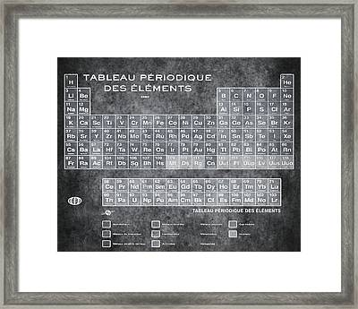 Tableau Periodiques Periodic Table Of The Elements Vintage Chart Silver Framed Print by Tony Rubino
