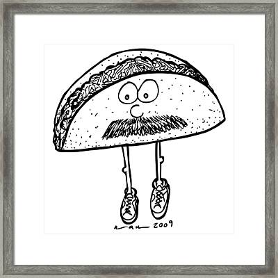 Taco Mustache Framed Print by Karl Addison