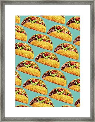 Taco Pattern Framed Print by Kelly Gilleran