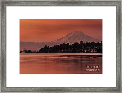 Tacoma Bay Mount Rainier Sunrise Framed Print by Mike Reid