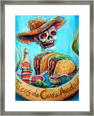 Tacos De Carne Asada Framed Print by Heather Calderon