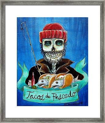 Tacos De Pescado Framed Print by Heather Calderon