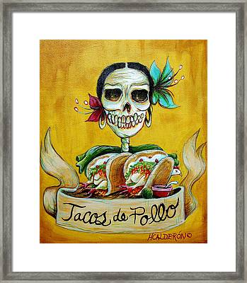 Tacos De Pollo Framed Print by Heather Calderon