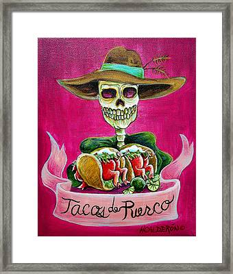 Tacos De Puerco Framed Print by Heather Calderon
