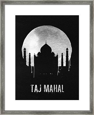 Taj Mahal Landmark Black Framed Print by Naxart Studio