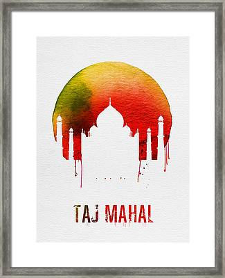 Taj Mahal Landmark Red Framed Print by Naxart Studio