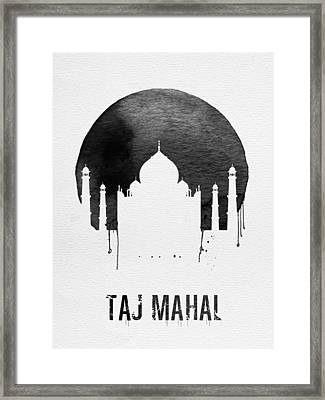 Taj Mahal Landmark White Framed Print by Naxart Studio
