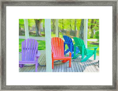 Chains Framed Print featuring the painting Take A Seat But Don't Take A Chair by Jeff Kolker