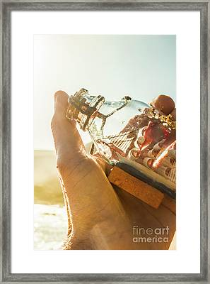 Take And Hold Sailor With Glass Ship Framed Print by Jorgo Photography - Wall Art Gallery