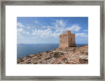Tal-hamrija Coastal Tower - Malta Framed Print by Joana Kruse