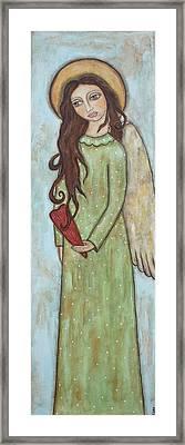 Tall Angel With Heart Framed Print by Rain Ririn