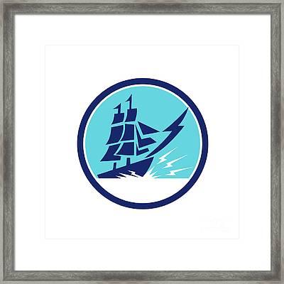 Tall Sailing Ship Lightning Bolt Circle Framed Print by Aloysius Patrimonio