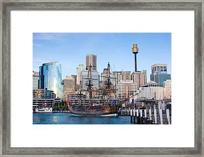 Tall Ships - Sydney Harbor Framed Print by Charles Warren