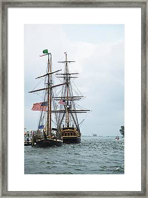Tall Ships Hms Bounty And Privateer Lynx At Peanut Island Florida Framed Print by Michelle Wiarda