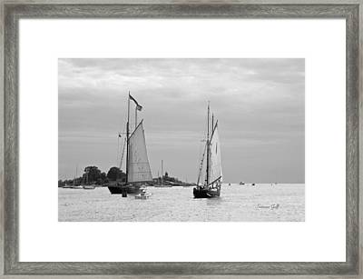 Tall Ships Sailing I In Black And White Framed Print by Suzanne Gaff