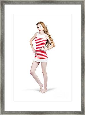 Tall Slim Retro Fashion Woman On White Background Framed Print by Jorgo Photography - Wall Art Gallery