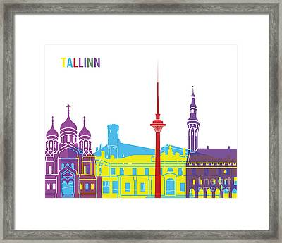 Tallinn Skyline Pop Framed Print by Pablo Romero