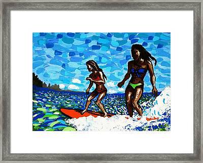 Tandem Surfer Girls Framed Print by Jason Page