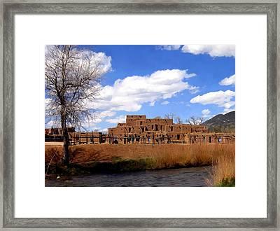 Taos Pueblo Early Spring Framed Print by Kurt Van Wagner