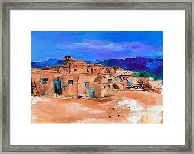 Taos Pueblo Village Framed Print by Elise Palmigiani