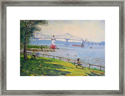 Tappan Zee Bridge And Light House Framed Print by Ylli Haruni
