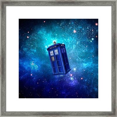 Tardis Blue Space Framed Print by Koko Priyanto