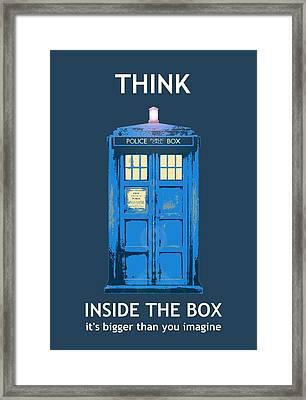 Tardis - Think Inside The Box Framed Print by Richard Reeve