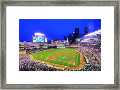 Target Field At Night Framed Print by Shawn Everhart