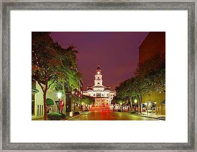 Tarrant County Courthouse At Twilight - Fort Worth North Texas Framed Print by Silvio Ligutti