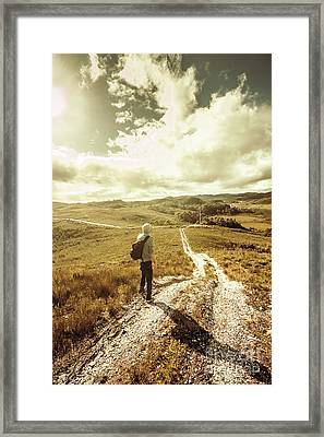 Tasmanian Man On Road In Nature Reserve Framed Print by Jorgo Photography - Wall Art Gallery