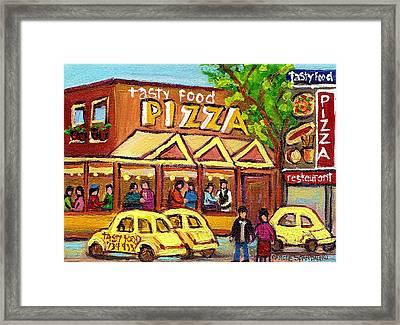 Tasty Food Pizza On Decarie Blvd Framed Print by Carole Spandau