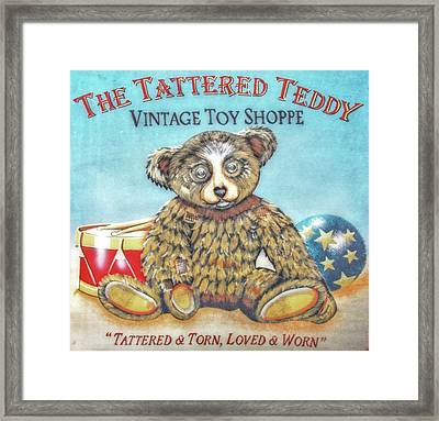 Tattered Teddy Toy Shop Sign Print Framed Print by Randy Steele