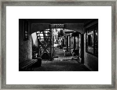 Tattoos And Body Piercing In Black And White Framed Print by Greg Mimbs