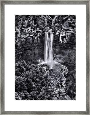 Taughannock Falls - Bw Framed Print by Stephen Stookey