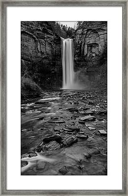 Taughannock Falls In Bw Framed Print by Stephen Stookey