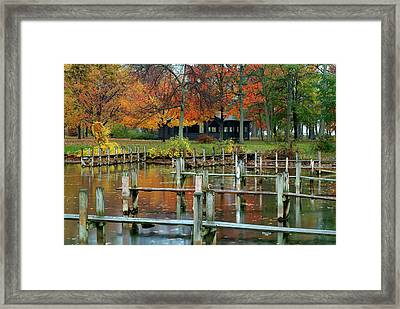 Taughannock Falls Sp Harbor Framed Print by Dean Hueber