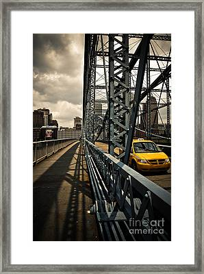 Taxi Crossing Smithfield Street Bridge Pittsburgh Pennsylvania Framed Print by Amy Cicconi