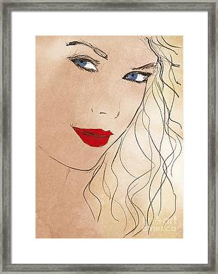 Taylor Red Lips Framed Print by Pablo Franchi