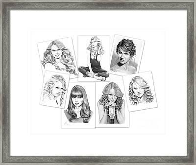 Taylor Swift Collage Framed Print by Murphy Elliott