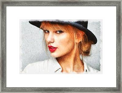 Taylor Swift Painting On Canvas Framed Print by Sir Josef Social Critic - ART