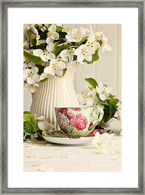 Tea Cup With Fresh Flower Blossoms Framed Print by Sandra Cunningham