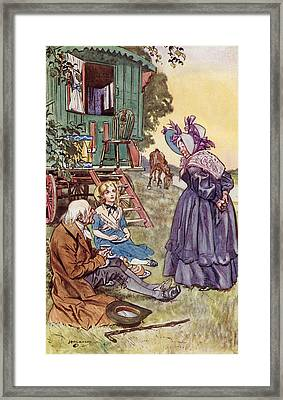 Tea With Mrs Jarley. Frontispiece By Framed Print by Vintage Design Pics