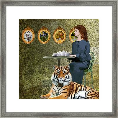 Tea With The Tiger Framed Print by Van Renselar