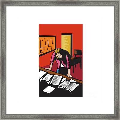 Teacher Depressed Table Classroom Woodcut Framed Print by Aloysius Patrimonio