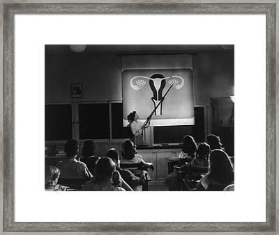 Teacher Points To A Diagram Of Female Framed Print by Everett