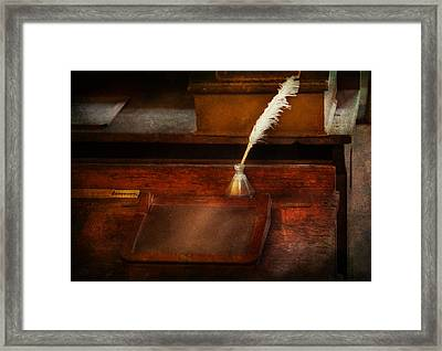 Teacher - The Writing Desk Framed Print by Mike Savad