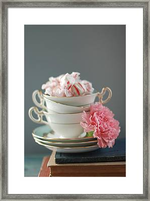 Teacups And Candy Framed Print by Shawna Lemay