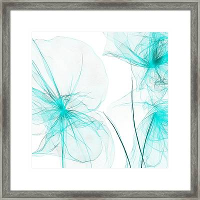 Teal Abstract Flowers Framed Print by Lourry Legarde